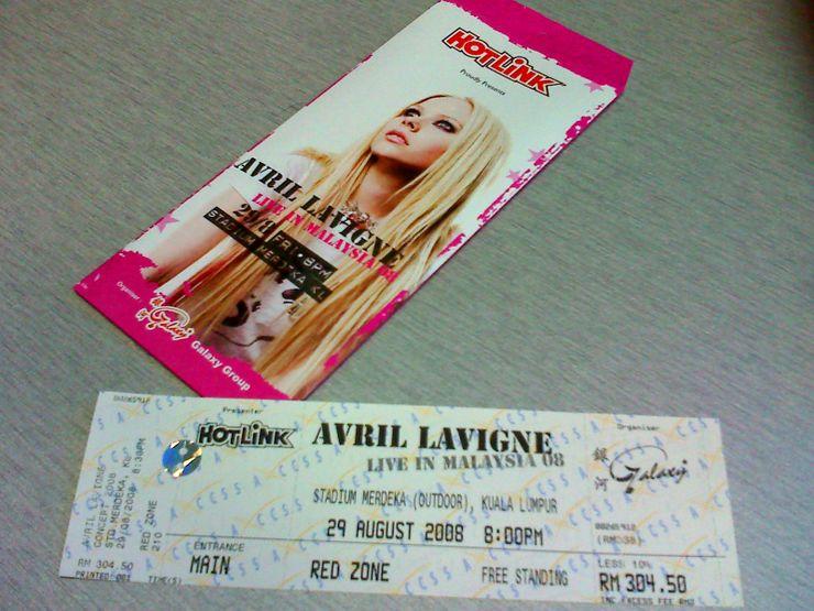 Avril Lavigne 2008 Malaysian concert ticketVia KVWong